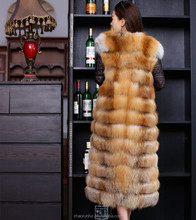 Long Fashion Women Style Natural Red Fox Fur Vest