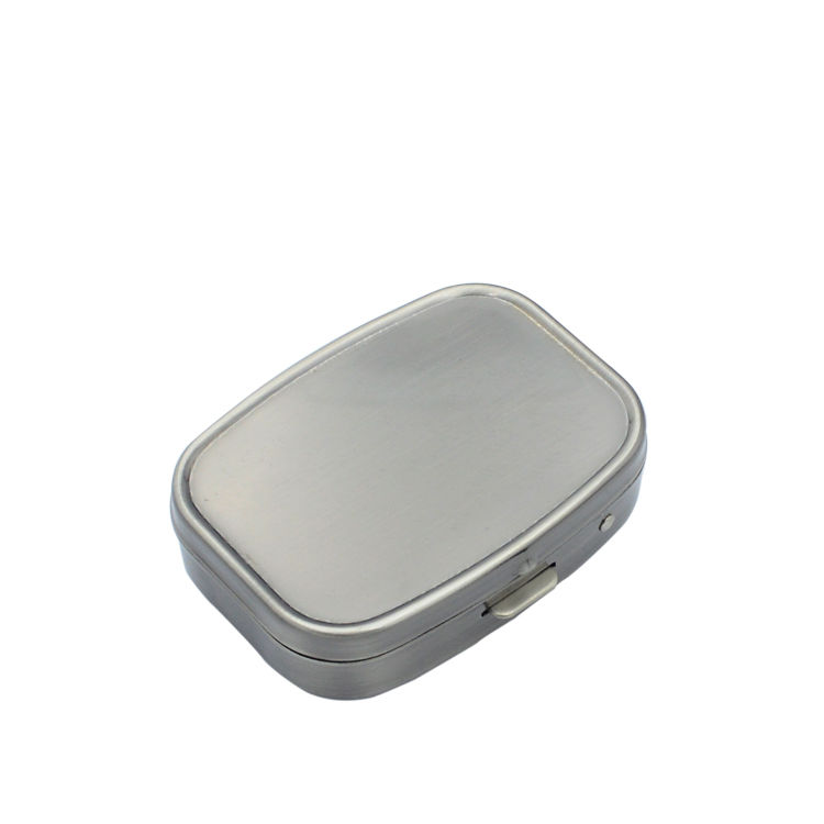 Wholesale food grade metal small rectangle shaped blank pill organizer case+blank color lockable pill container case