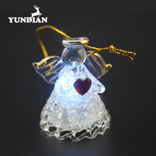 Blown small led light up clear christmas glass angel ornament with red heart