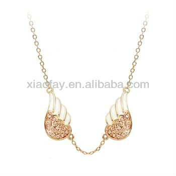 angel wings jewelry rose gold necklace with rhinestone