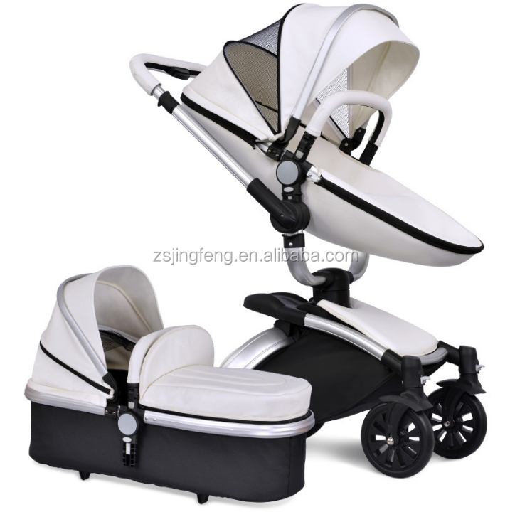 Multi-function Aluminum Alloy Frame Leather Baby Stroller 3 in 1 Luxury Travel System Baby Pram With Carry Cot