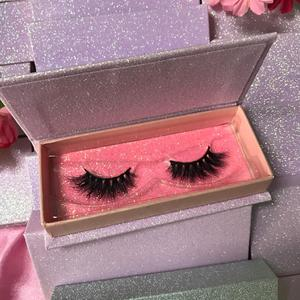 custom pink glitter eyelash box 3d real mink lashes own brand eyelash extension