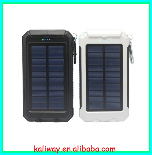 Dual USB Port Solar Panel Charger with 2 LED Flashlight for iPhone, Cell Phone, Tablet