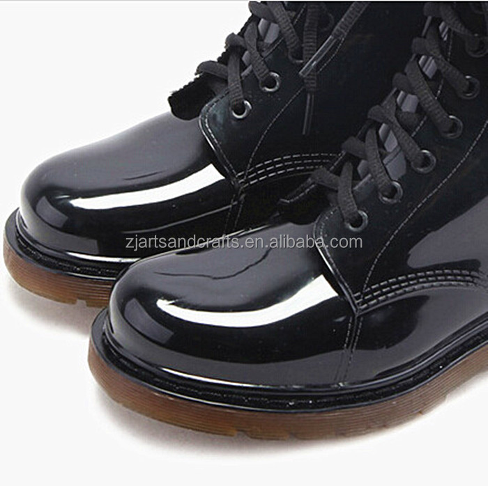 Classic Lace-up ankle light black rain shoe martin rain boot pvc cowboy boot