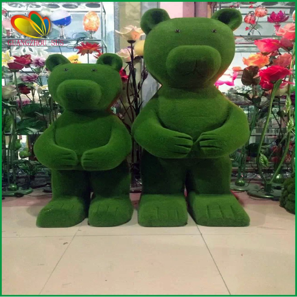 Garden decoration artificial grass animal artificial teddy bear for sale