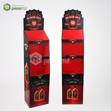 supermarket promotional canned beer POS corrugated cardboard 5 shelf floor display stand
