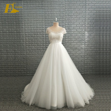Real Sample Picture White Round Collar Beaded Bodice Wedding Gown