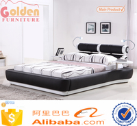 Hot sale leather bed with light and USB jack G992#
