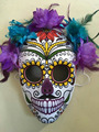 halloween masquerade horror ghost mask with simulation flowers