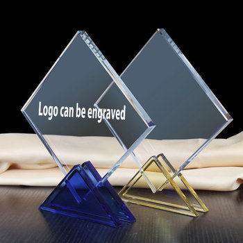 Luxury high quality crystal trophy award with engraved logo blue base for school