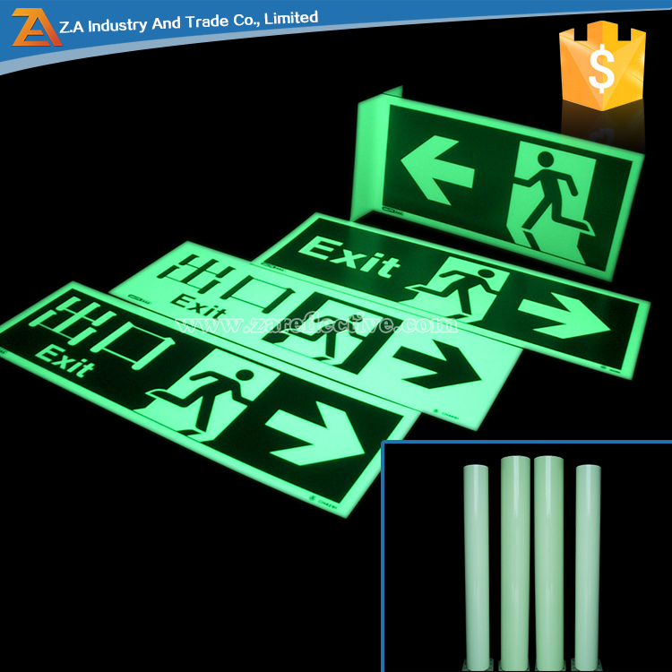 Safety Signage Sticker ,6-8 hours Glowing Time, Self Adhesive Reflective Photo Luminous Tape for Floor Marking