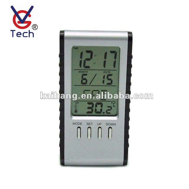 Thermometer Display LCD Battery Operated Calendar Clock For Outdoor