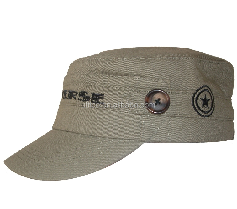2015 high quality khaki military hat/fashion military hat/flat top cap