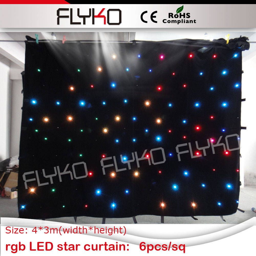 Programmable LED Star Cloth full color night club RGB3in1 3x4meter Fireproof CE RoHS