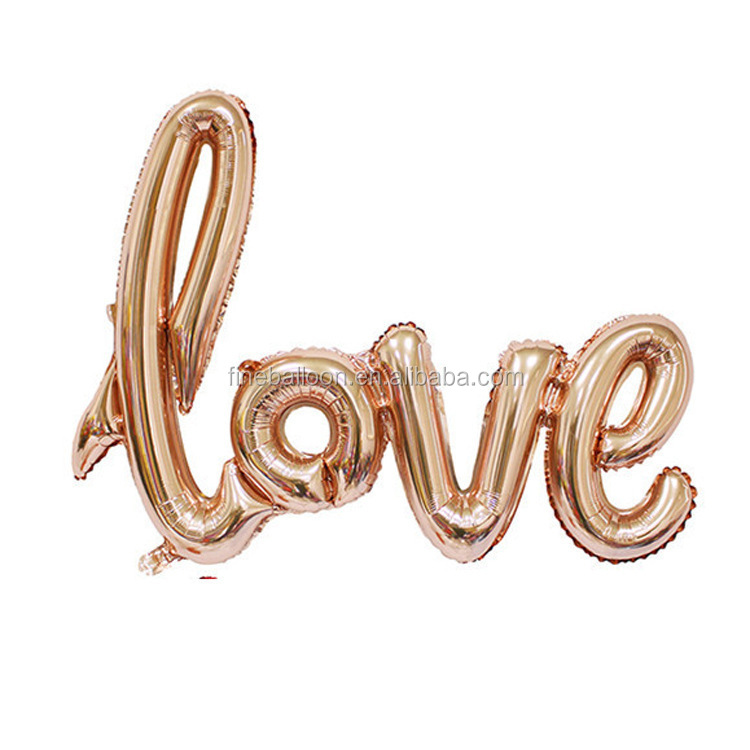 Valentine's Day decoration inflatable rose gold Love foil balloons for wedding favor