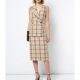 Fashion Elegant Deep V Collar Sleeveless Beige and Black Check Woman Dress