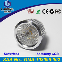 Langma 2016 torch light Dimmable mini spotlight led COB Driverless 5W 6W 7W AC GU10 led spotlight price