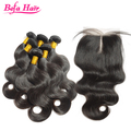 "2016 Befa hair overnight shipping 24"" body wave virgin hair bundles with lace closure brazilian remy hair"