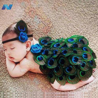 Fashion Infant Newborn Baby Girls Knit Headband and Feather Skirts Photography Accessory Prop