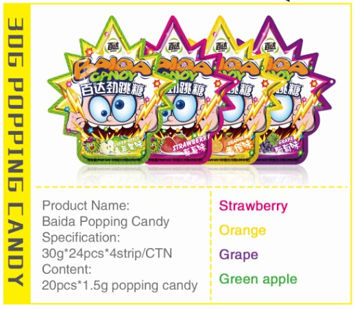 Mix fruity flavor popping candy with colorful packing
