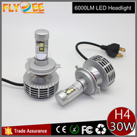 Flydee super powerful car headlight car auto led light 6000lm h4 h7 9005 9006 6th generation h4 led headlight kits