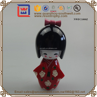 Decorative Mini Japanese Beautiful Resin Kokeshi Dolls Figure Statue
