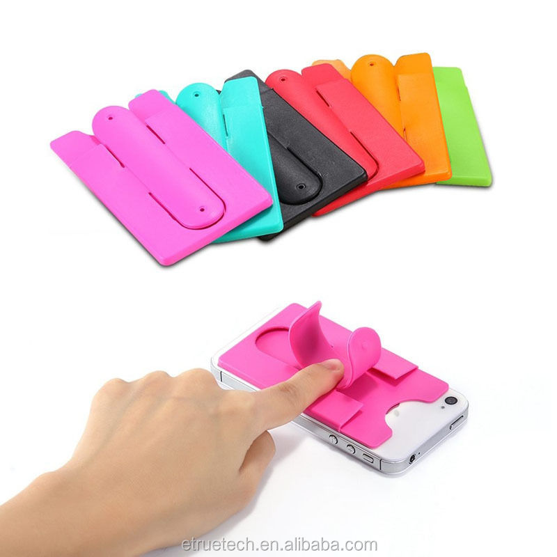 Touch U Cell Phone Case Credit Card Holder; Silicone Touch U Cell Phone Sticker Business Card Holder Stand