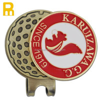 2016 cheap price antique brass magnet golf cap clip with ball marker