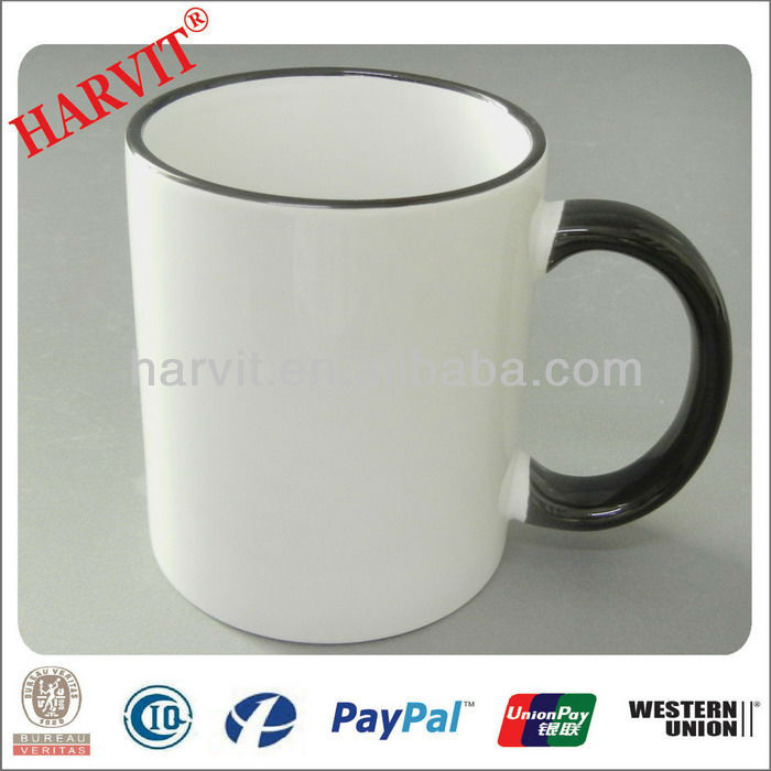 White Mug With Color Rim / Blank Sublimation Mugs With Colored Rim