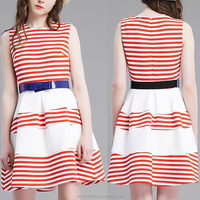 Instyle fast delivery red and white stripe flesh princess style new model short casual dresses