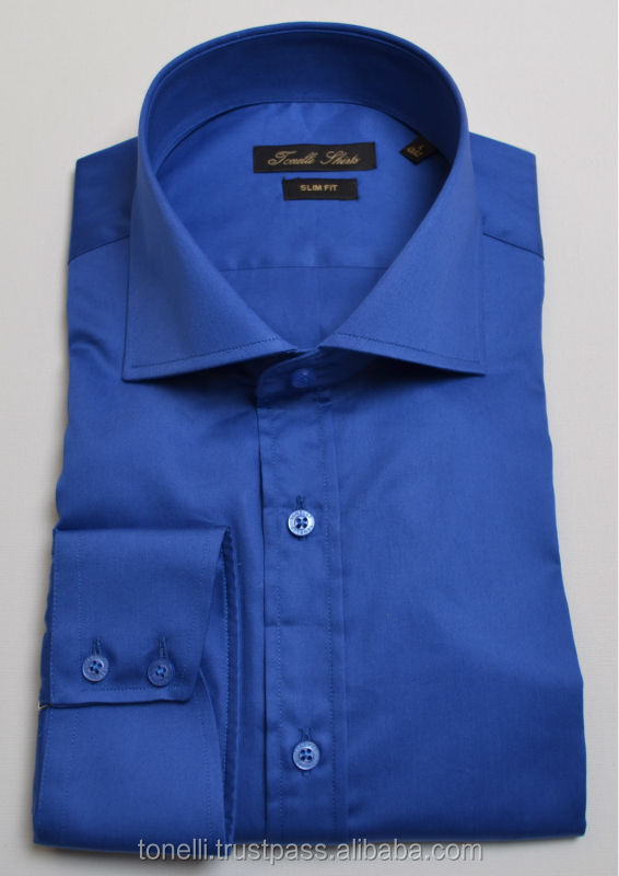 Italian Collar Royal Blue Dress Shirts for Men - Free Worldwide Shipping