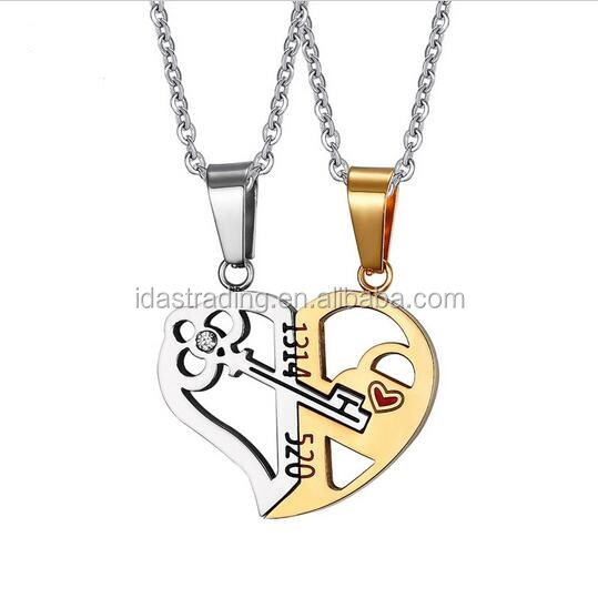 Key & Lock Necklace <strong>Pendant</strong> 1314520 Couple Lover Wedding Jewelry Women Men Necklace 2pcs / sets