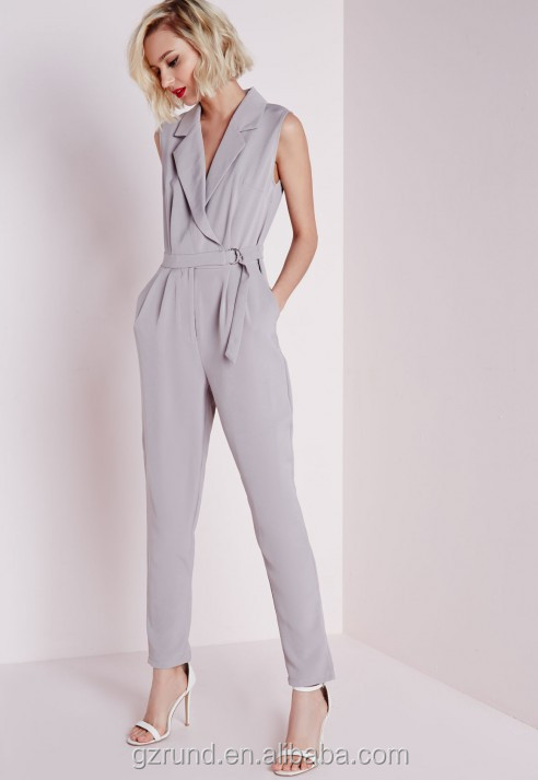 BS60008 CHINA WHOLESALE HOTTEST LADIES JUMPSUIT SLEEVELESS D-RING WRAP JUMPSUIT