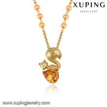 43316 xuping vogue silk thread beads 18k gold pendant necklace precious stone jewelry