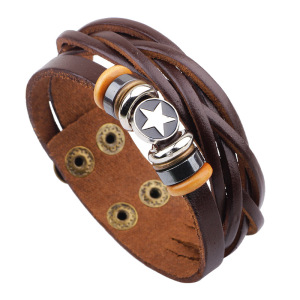 Mens leather bracelet with tungsten steel charm snap bracelet, two strand braided leather with button clasp bracelet