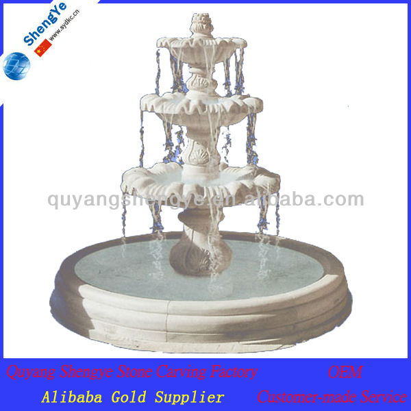 garden white marble stone water fountain feature