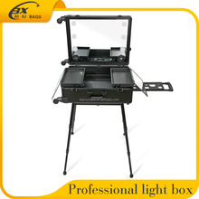 2017 new design professional aluminum rolling trolley lighted cosmetics makeup case with bulbs light 4 wheels legs stand
