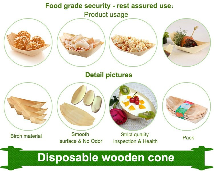 disposable sushi pine wooden cone for food