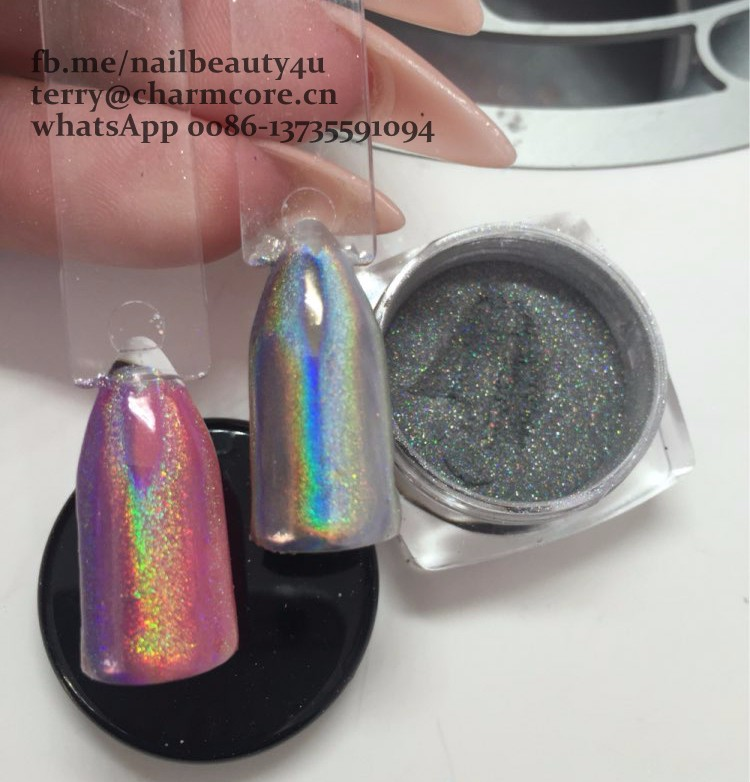 1 Box Rainbow Pigment Chrome Nail Powder Pigment 3D Nail Shining Glitters Hologram Rainbow Holographic Powder