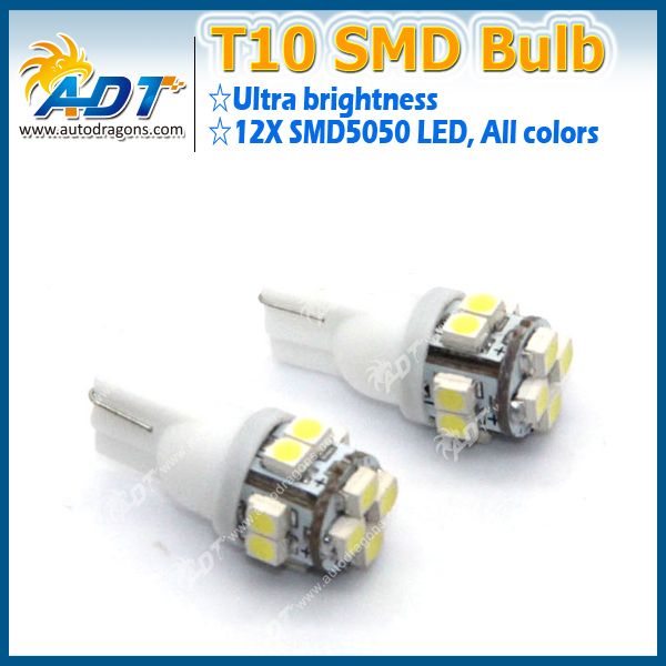 New T10 White 12 3528-SMD LED Wedge Tail Car Light Bulbs 194 168 W5W 12V