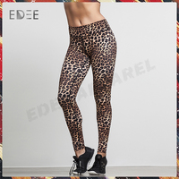 OEM sublimation print leopard women's gym clothing Leggings Yoga pants Sports wear