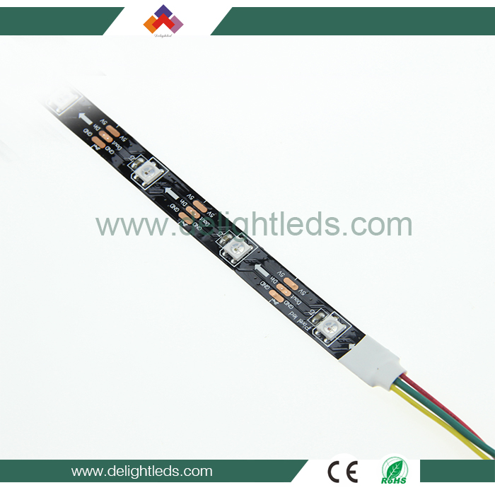 Hot selling ws2812b 5V digital led strip 5050 rgb ic build in individual addressable 30/60/144leds/m 5m per reel factory price