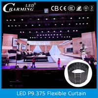 led light black stage curtain backdrop design sample for wedding and party
