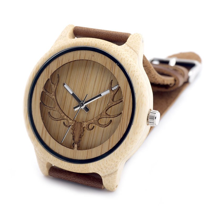 wholesale bobo bird brand mens wood watch japan movt watch bamboo face watch with Genuine Leather Wrist bands
