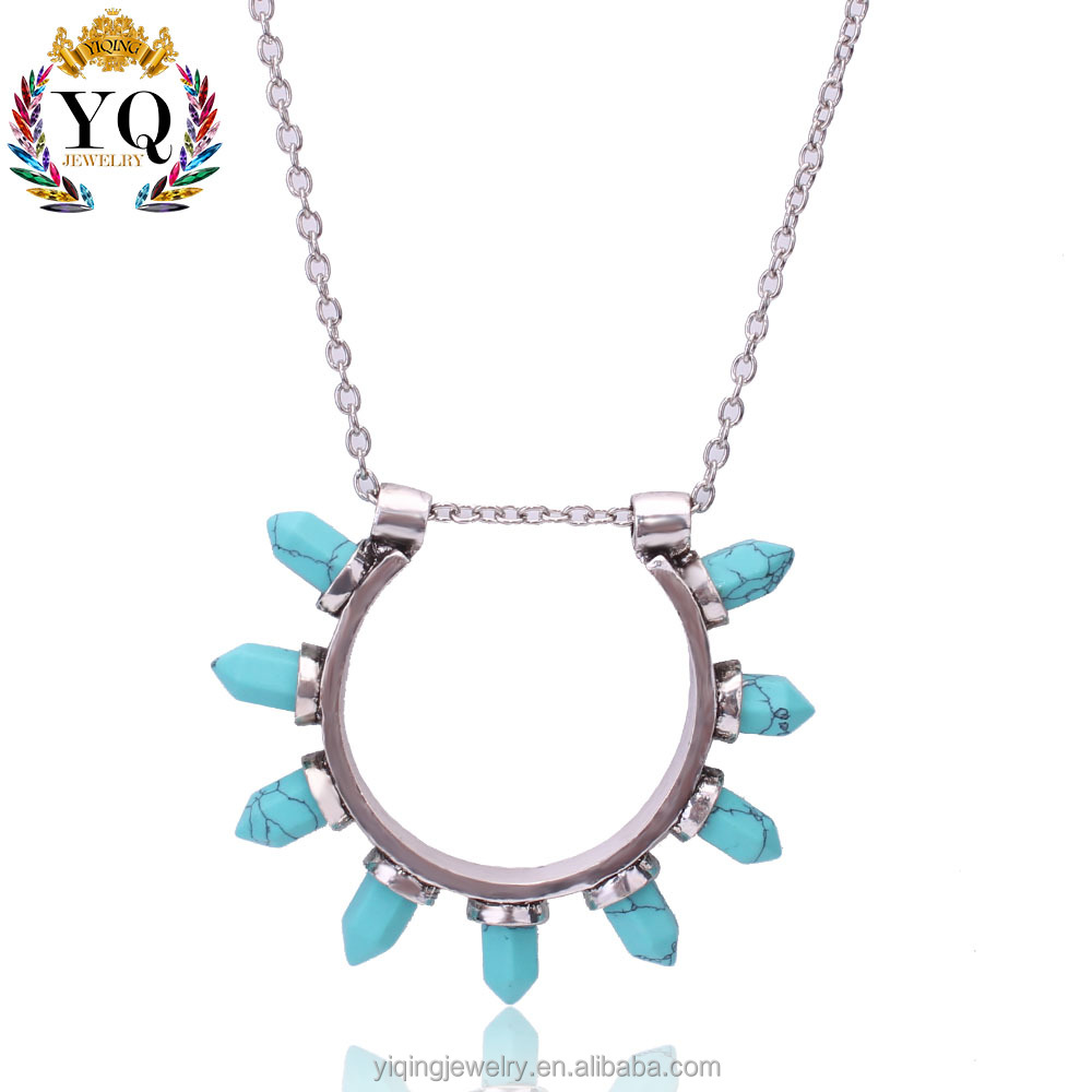PYQ-00114 bangle shape sun shape natural turquoise stone silver pendant necklace