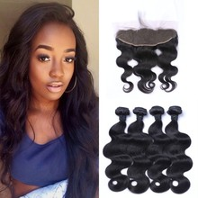 Peruvian Body Wave Human Hair Bundles With Lace Frontal 13x4 100% Human Hair Extensions