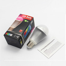 E26/27 B22 RGBW (3000K) 9W LED Bulb Light AC85~265V Input iOS/Android WiFi Smartphone Controlling Home/Mood Multi Color Lighting