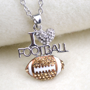 A1088 Yiwu Huilin Jewelry Fashion I LOVE FOOTBALL shape alloy thick chain necklace