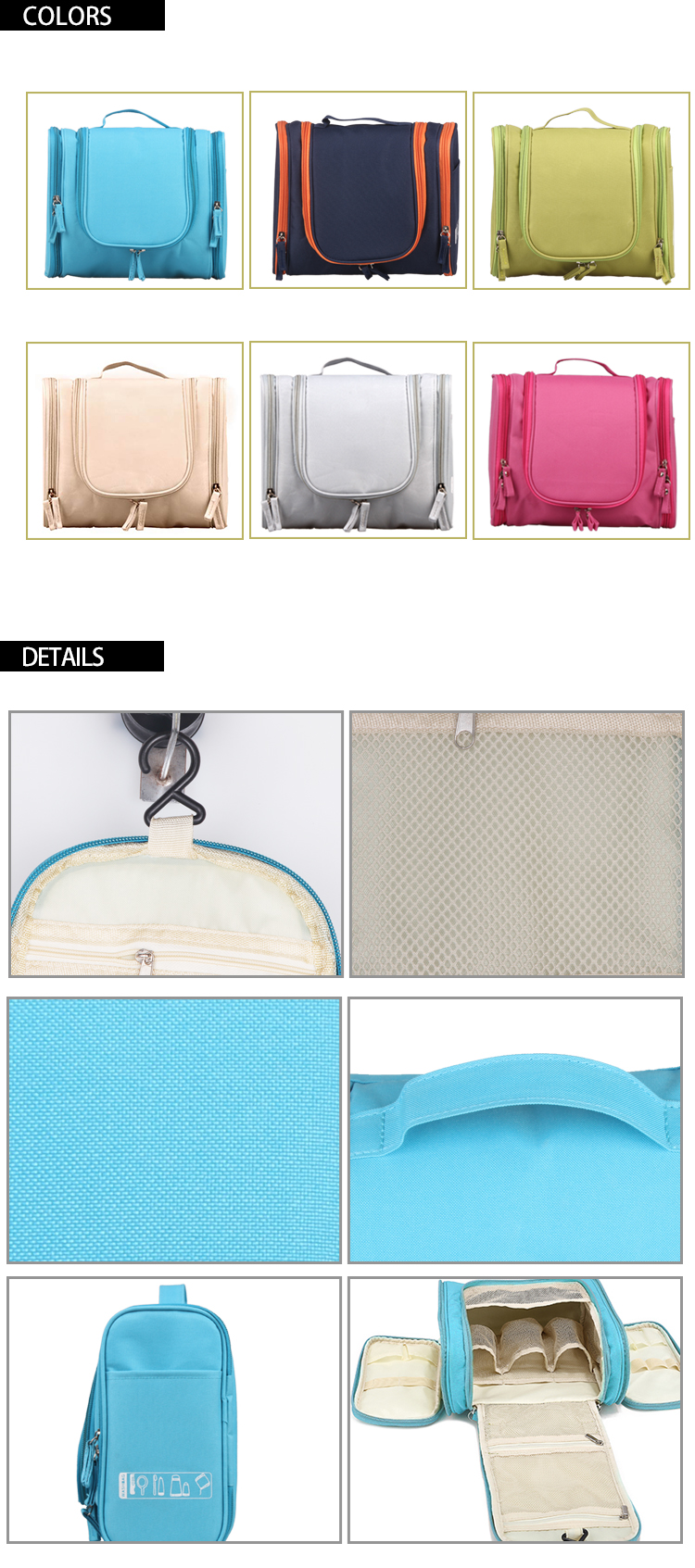 heavy duty polyester 300D clean travel makeup bag organizer cosmetic toiletry bag