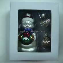 CGA high quality small size glass hanging snow man Christmas tree ornaments set,Christmas decor
